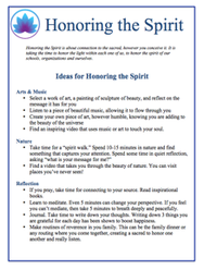 Honoring the Spirit Ideas